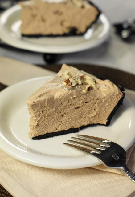 No-Bake Hersheys Chocolate Bar Pie.  You wont believe a pie this good can be this easy!  www.thekitchenismyplayground.com -Only 3 ingredients