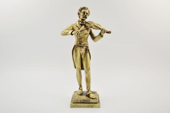 Johann Strauss statue / Bronze plated  by CraftsAndMetal on Etsy