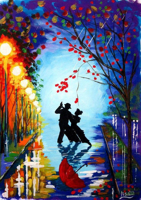Original Watercolor Painting - Tango in the rain   - Original Fine Art  Contemporary - Night  Landscape