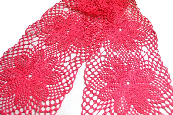 Crochet Women's Scarf ItWasYarn Lace Pink Cotton by ItWasYarn