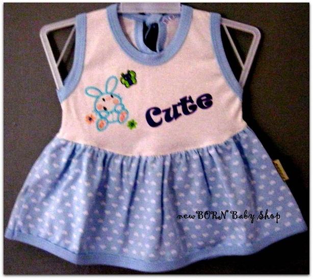 Piteku Cute Bunny Baby Dress    Age : 3-6 months  Material : Cotton/Katun  Colour : Pink, Blue, & Green