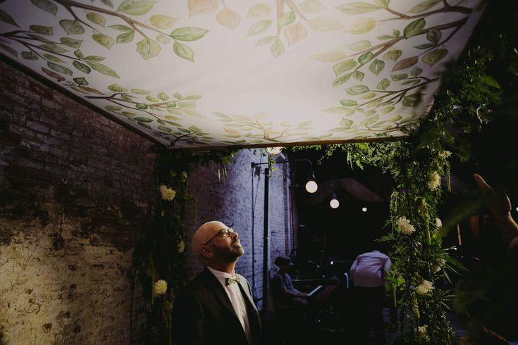 Gay Men Wedding Photography NYC Brooklyn Houston Beer Hall LBGT Top Best Indie Hip NYC Brooklyn Wedding Photograp… custom chuppah green leaves handwritten