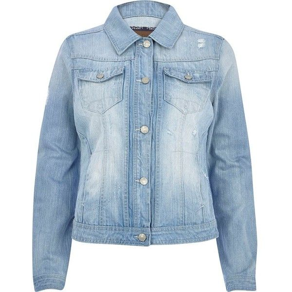 River Island Light wash denim jacket (82 BRL) ❤ liked on Polyvore featuring outerwear, jackets, denim jacket, tops, chaquetas, sale, distressed jacket, river island, jean jacket and blue jean jacket