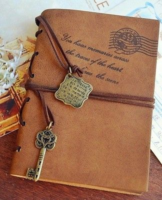 Vintage L Magic KEY String Classic Leather Notebook Diary Journal Retro Large   eBay