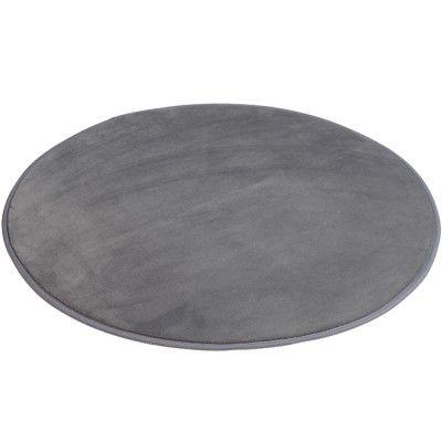 Tapis rond gris Ø 80 cm, 100 % polyester. Toucher douceur, picots antidérapants.