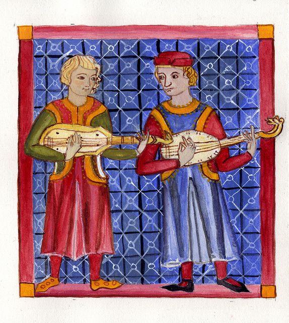 Two musicians from the Cantigas de Santa Maria