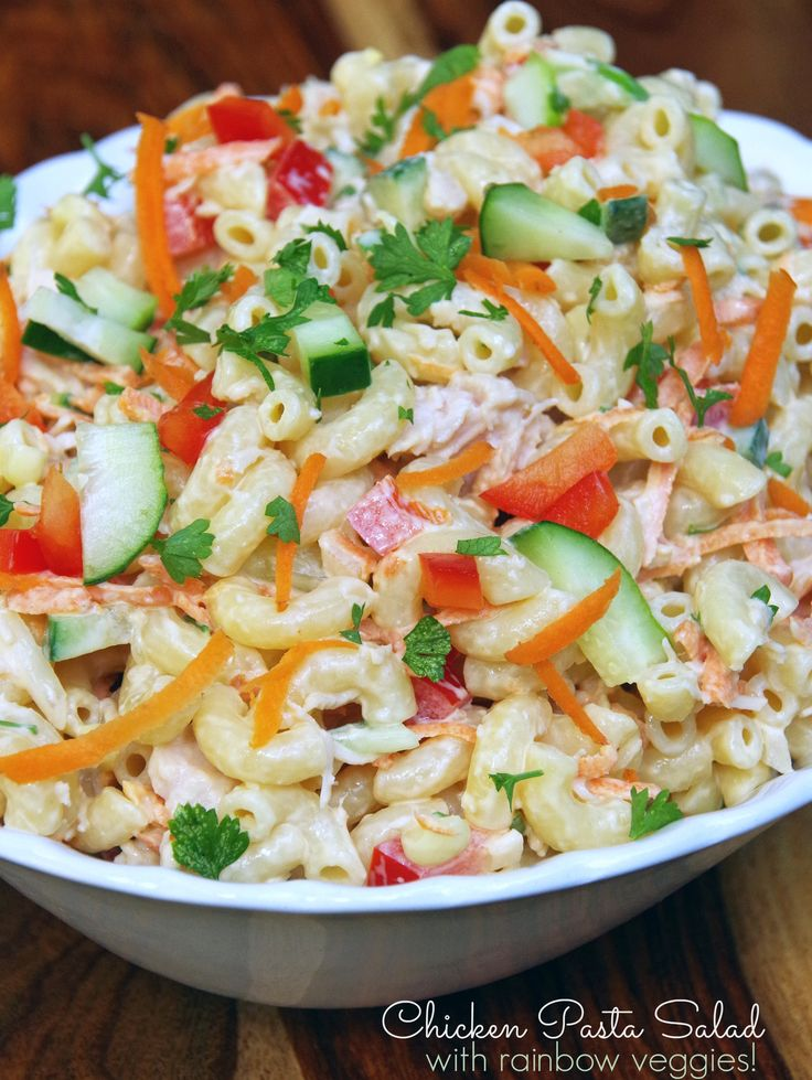 Need healthy lunch box ideas? This cold chicken pasta salad recipe with a rainbow of veggies will be a big hit. It is a super easy pasta salad recipe!