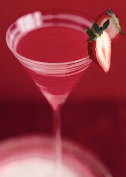 Blood Berry Martini  Ingredients: 1-1/2 oz Vampyre Vodka, red, 2 strawberries, hulled and sliced, 1 oz blood orange juice, 1/2 oz lemon juice, 1 teaspoon sugar, Half a strawberry, for garnish, Directions: In a cocktail shaker, muddle the strawberries with the orange juice and sugar. Add the Vampyre Vodka.      Top with ice and shake vigorously. Strain into chilled cocktail glass. Garnish with a half strawberry.