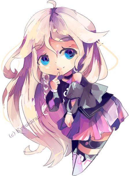 Purple Hair Anime Girl Kid With Bear