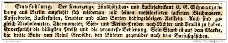 Original-Werbung/ Anzeige 1831 - JUBILATEMESSE LEIPZIG / FEUERZEUG - FABRIKANT SCHWARZENBERG / BERLIN - ca. 130 x 20 mm