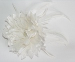Handmade silk white chrysanthemum flower and feather hair piece or brooch