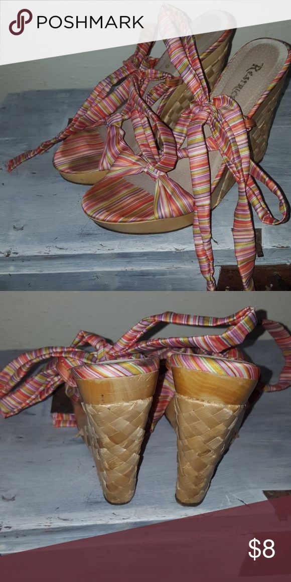 Restricted Colorful Raffia Wood Wedges 8 Worn a few times, but lots of use still left! Restricted Shoes Wedges