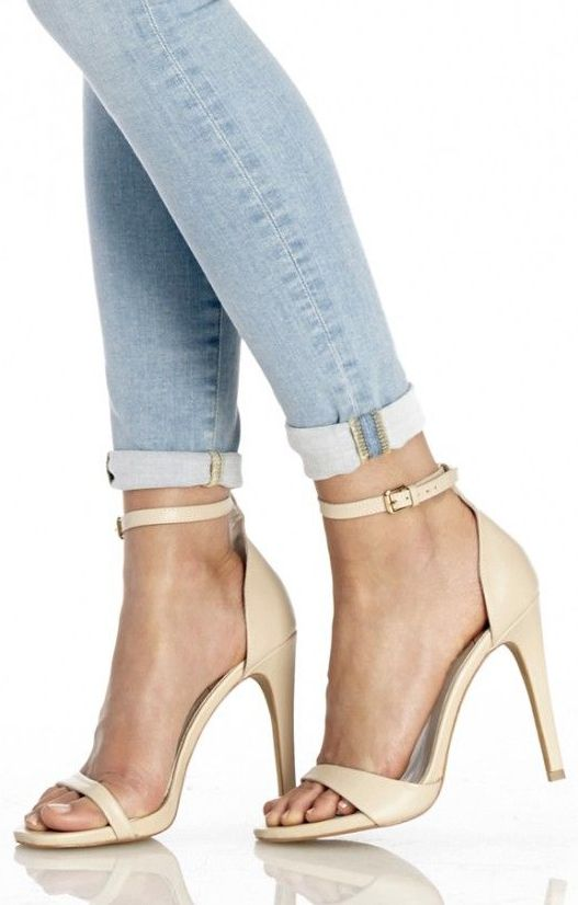 HELLO, lover!  Minimalist leather strappy high-heeled sandals in cream