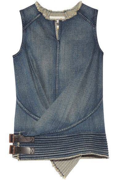 Junya Watanabe | Leather-trimmed denim top | NET-A-PORTER.COM