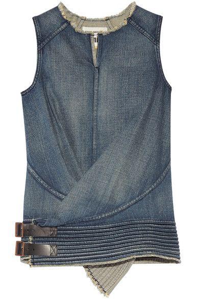 Junya Watanabe | Leather-trimmed denim top | NET-A-PORTER.COM