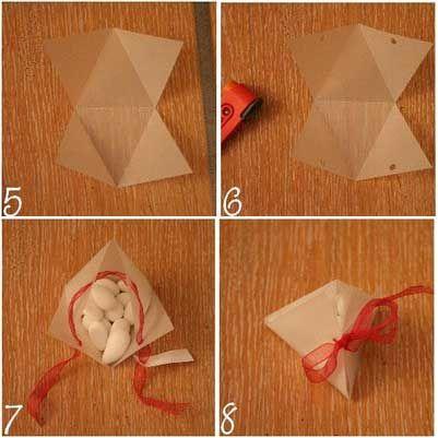 Boîte de dragées en papier, Tuto pour faire soi-même - Loisirs créatifs  http://www.bluemarguerite.com/Loisirs-creatifs/tuto-157-boite-de-dragees-en-papier.deco#