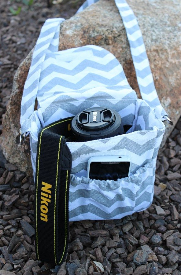 Small Chevron Camera Bag perfect for summer vacations ~ Gray, Turquoise, and Anchors {Jane Deals}
