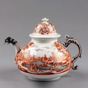Teapot, Meissen porcelain factory, 1720-1730. Museum no. C.75 This teapot was made by the Meissen factory but decorated in the distinctive style of Ignaz Preissler, probably the best known of all the independent enamellers (hausmaler) of Meissen porcelain.