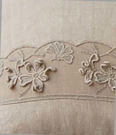 Flower linen coordinate with precious Laces made in Italy