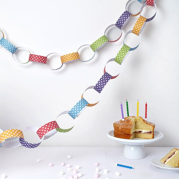 Rainbow Coloured Polka Dot Paper Chain Kit  by AlteredChic perfect for any party!