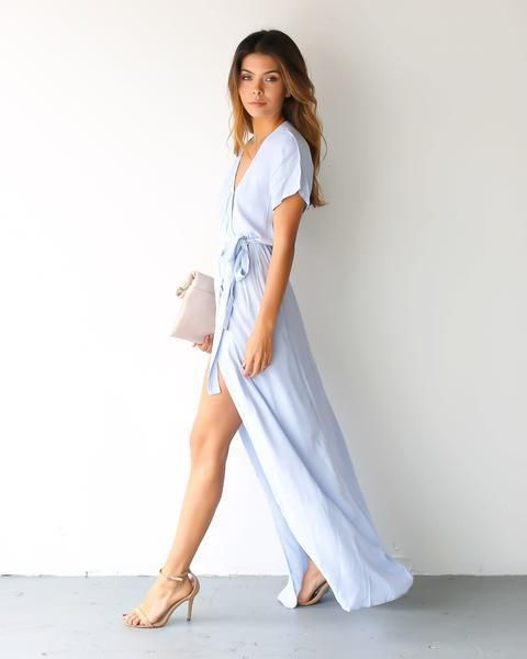 Solid Bardot Wrap Dress - Powder Blue