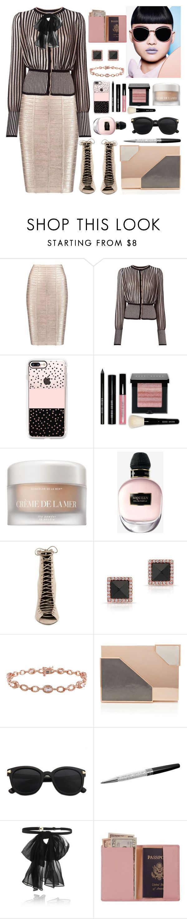 """251. Rose Gold Glow"" by milva-bg ❤ liked on Polyvore featuring Hervé Léger, Alexander McQueen, Casetify, Bobbi Brown Cosmetics, La Mer, Kendall + Kylie, Anne Sisteron, Miadora, Lee Savage and Swarovski"