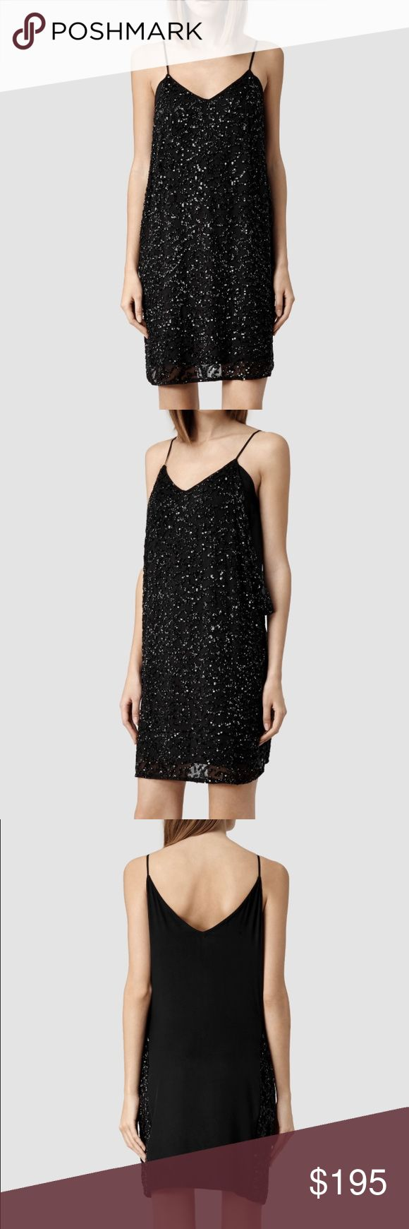 AllSaints Black Dress Covered in beads and with delicate straps, this is a gorge dress! Never been worn. With its tag. All Saints Dresses Mini