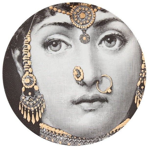 Fornasetti plate ($315) ❤ liked on Polyvore featuring home, home decor, wall art, art, black, gold plates, india wall art, indian plate, india home decor and gold home accessories