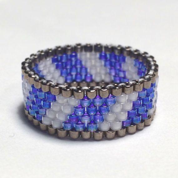 Ghiaccio Twist Fascia di perline Peyote Stitch anello tribale Boho bohemien nativi americani gioielli ispirati occidentale conveniente regalo