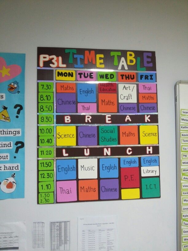 Classroom Decoration Charts ~ Classroom timetable display google search