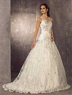 vestido weddimg cordón del tren de la princesa una línea de ... – CLP $ 169.020
