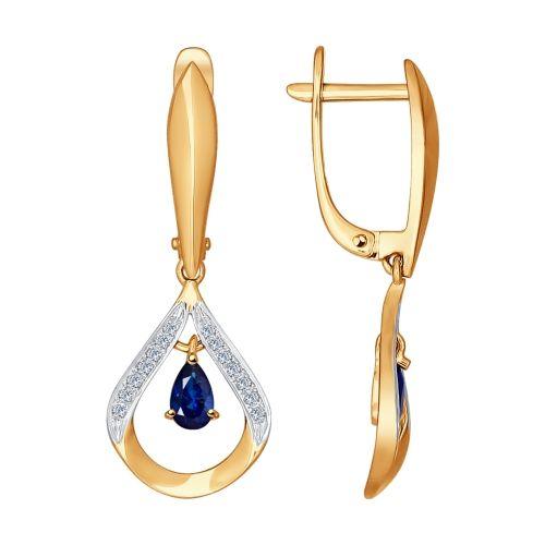 Серьги длинные из золота с бриллиантами и сапфирами