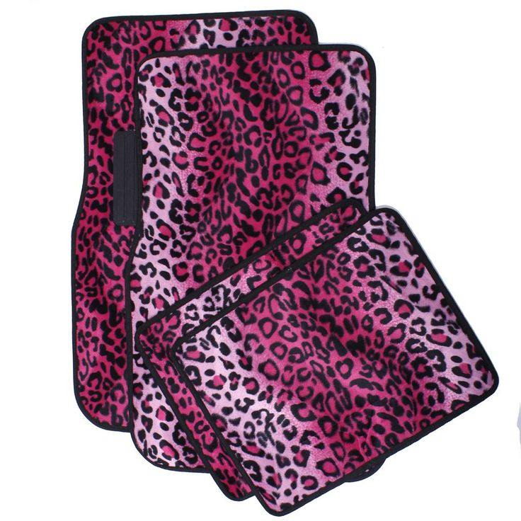 Liven up your cars interior with these safari pink leopard floor mats. They are easy to install and feature non-slip rubbarized spikes to make them stay in place while driving. Materials: Velour Surfa