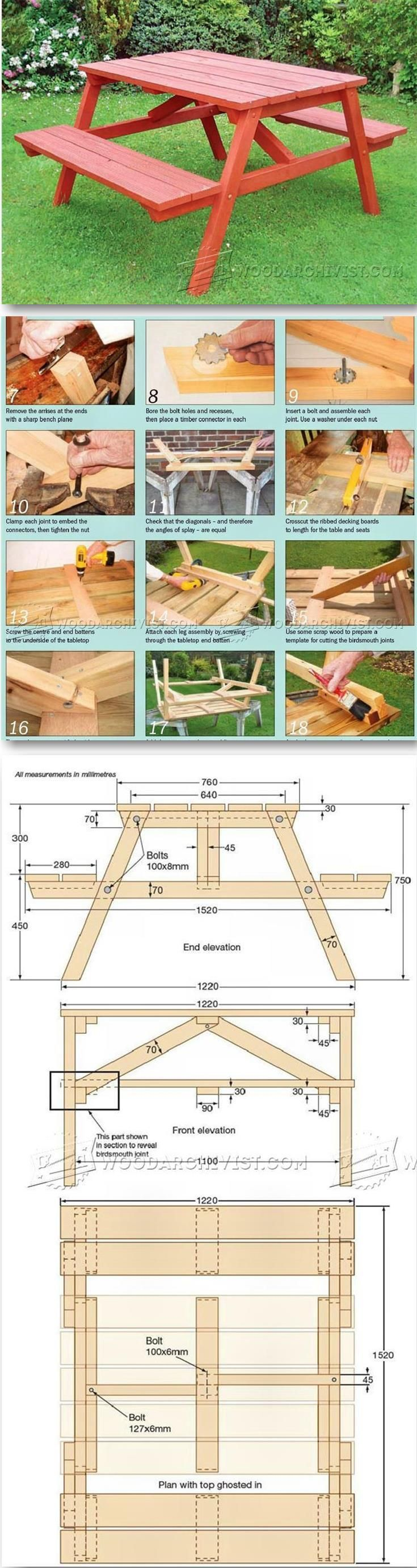 Garden Picnic Table Plans - Outdoor Furniture Plans & Projects | http://WoodArchivist.com
