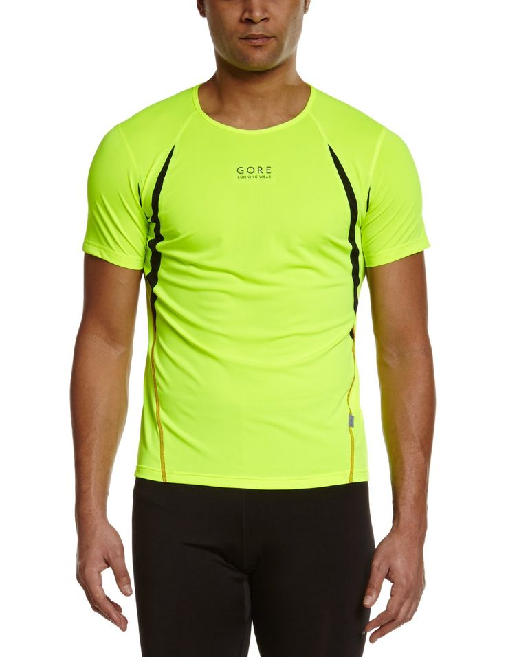 Gore Running Wear Men's Air 2.0 Shirt 82% POLYESTER, 18% ELASTANE, MESH: 100% POLYESTER Imported Cooling and venting shirt for the summer season. Slim fitting with extra venting performance in high sweat level areas. Slim fit. Contrast flat-lock seams Mesh inserts for ventilation under arms and in back. Reflective print on back Reflective flag.