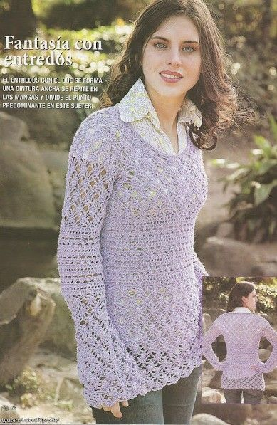 Lavender Long Flare Sleeve Top free crochet graph pattern