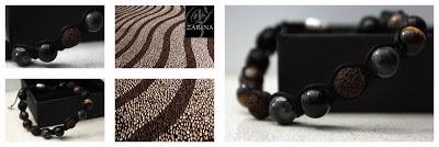 """Pulsera """"STONES"""" realizada con piedras semi-preciosas: Ojo de tigre, Onyx, Bonzite, Larvikite y piedras volcánicas naturales.   Exclusive by ZARINA  Info.zarinadesigns@gmail.com"""