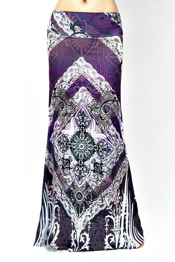 Purple Boho Print Maxi Skirt