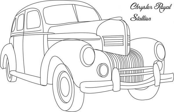 Classic Cars Coloring Pages Chrysler Royal Stallion Cars