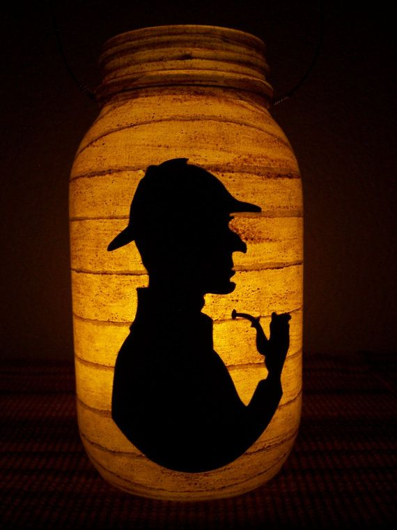 New Grungy Primitive Halloween Sherlock Holmes Silhouette Lantern Candle Holder