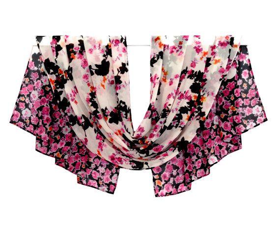 Chiffon Scarf, Red Flower Scarf, Print Scarf, Silk Scarf, Spring Scarf, Summer Scarf, Pattern Scarf, Blanket Scarf, Head Scarf, Silk Shawl,