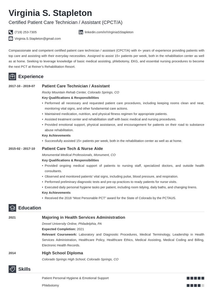 14++ Patient care technician resume objective inspirations