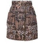 Printed zipped A-shaped leopard skirt 858 PLN