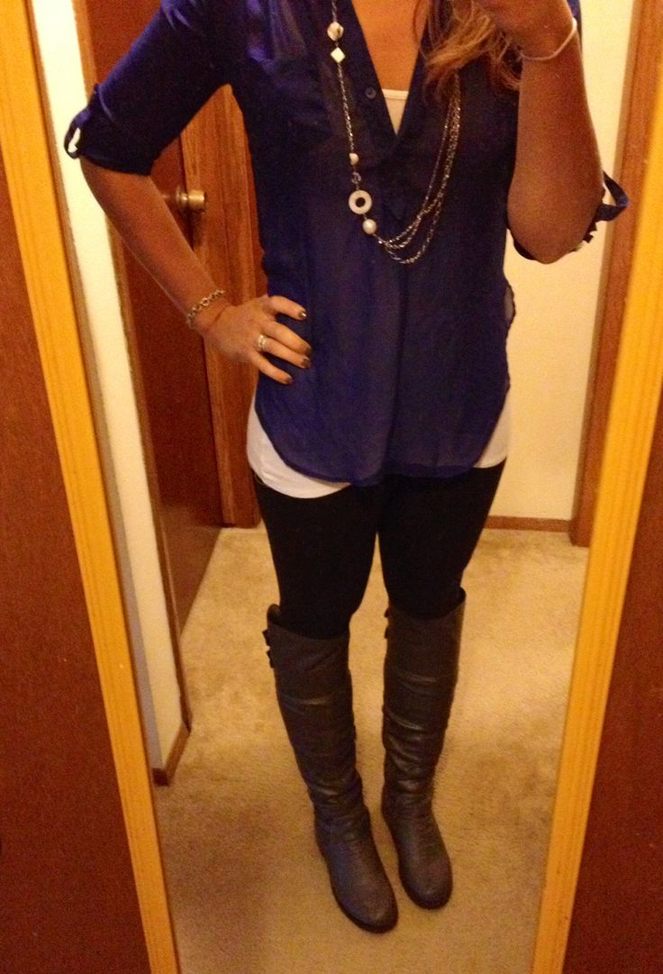 Business Casual Work Outfit #26..... Starting to get cold....boots are coming out! Shirt- Kohls Leggings- Victoria Secret (I've found if you spend a little bit more on then you get better quality and thicker ones making them warmer to wear in the fall/winter) Boots- Urban OG.com Necklace- Lia Sophia Bracelet- Tiffany and Co.