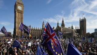 Victims of London attack remembered at anti-Brexit march