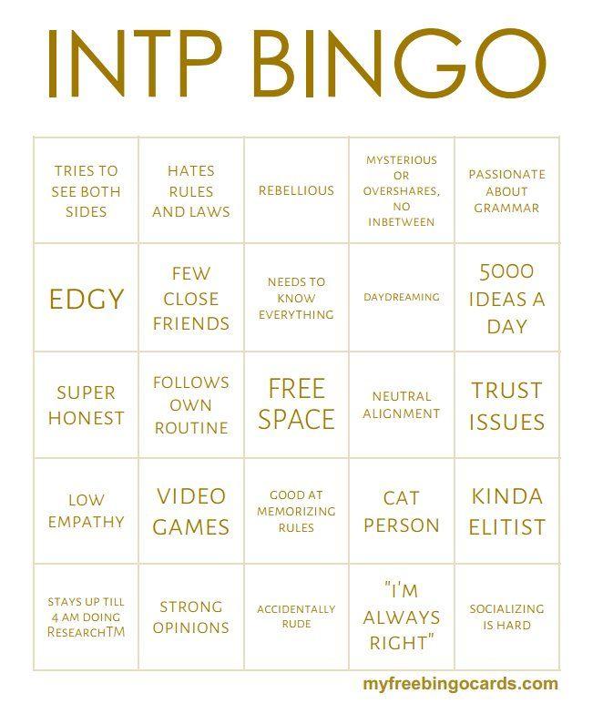 "niel 12 on Twitter: ""✨MBTI Bingo cards ✨"""
