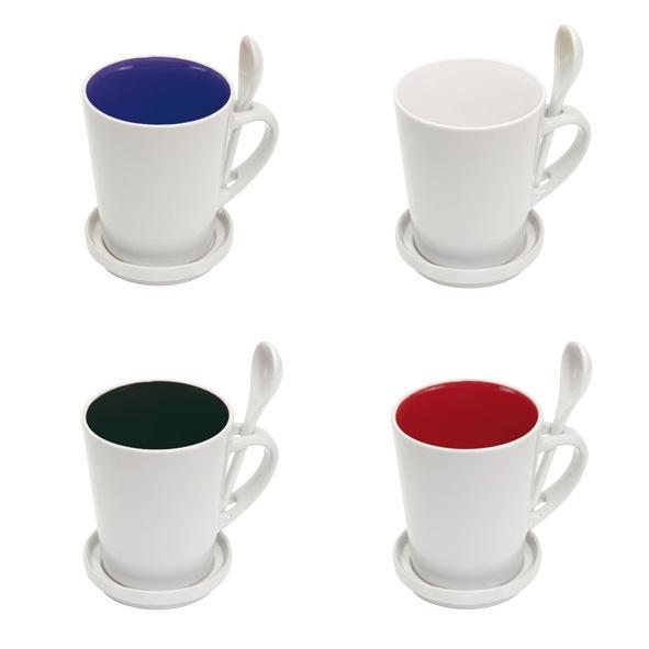 COD.TT018 Set de Taza más cuchara y tapa/plato. Porta cuchara en asa. Interior de color y exterior color blanco.