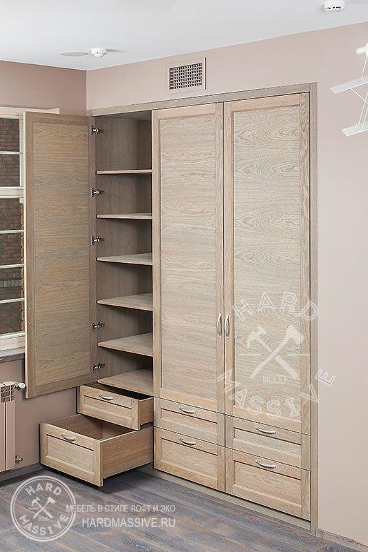 Встроенный шкаф. Шкаф сделан на заказ в детскую комнату. Шкаф изготовлен из МДФ и шпона дуба. Покрыт натуральным масло-воском.