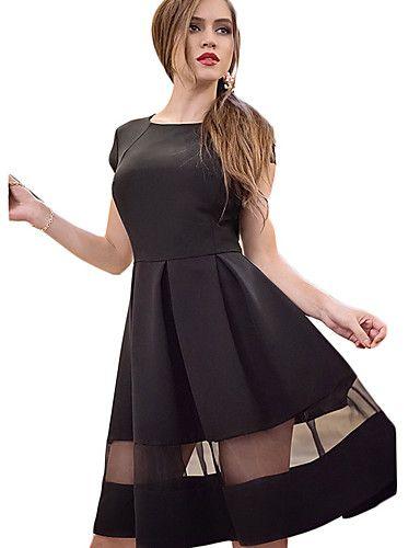 Swing Vestito Da donna-Casual Semplice Collage Rotonda Sopra il ginocchio Senza maniche Nero / Viola Rayon Estate A vita altaMedia del 5374325 2017 a €12.73