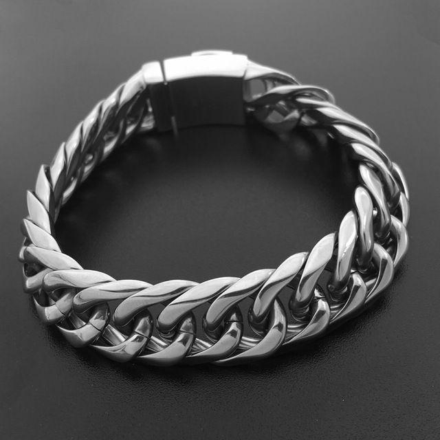 New Price $19.93, Buy 033 VCOOL Chain Bracelets 210*15mm Manly Male Jewelry 316L Stainless Steel Men Link Bangles Punk European Style Bracelet